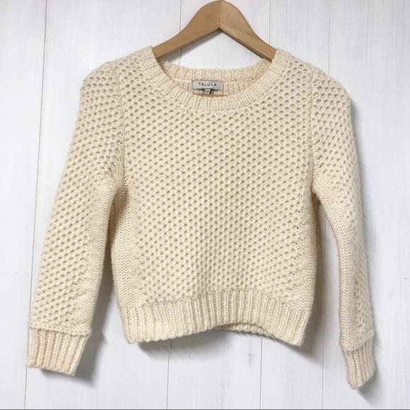 Talula Cream Knit Cropped Alpaca Blend Sweater